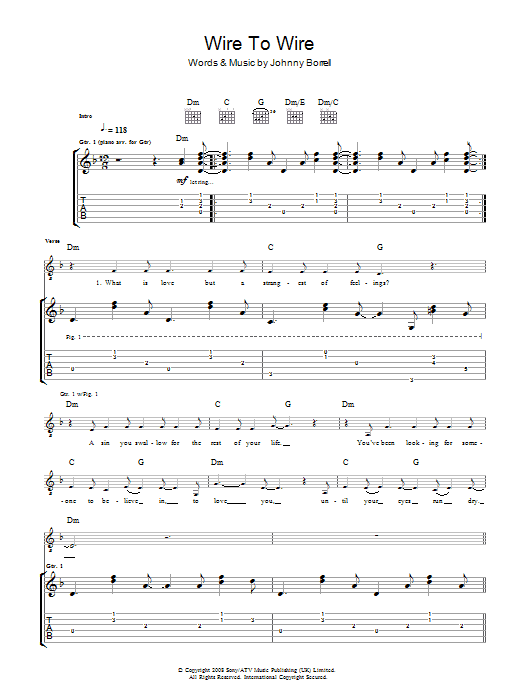 Wire To Wire (Guitar Tab)