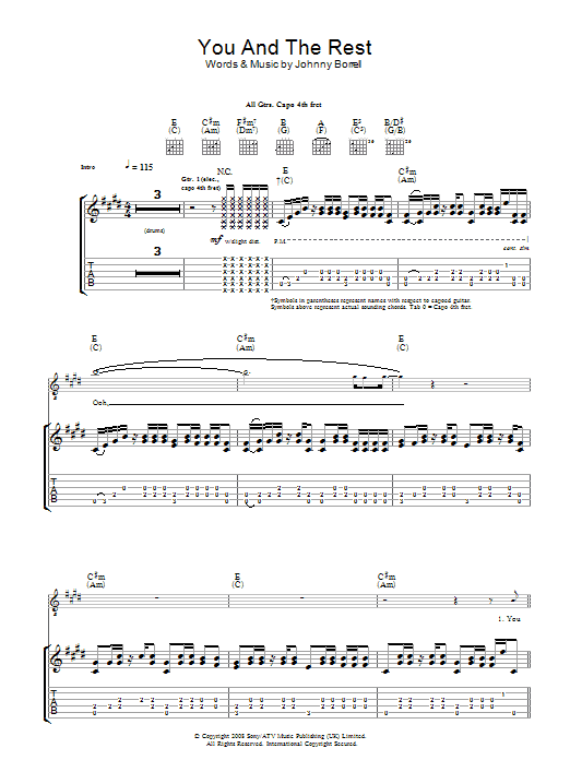 You And The Rest (Guitar Tab)