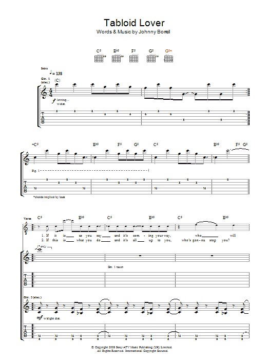 Tabloid Lover (Guitar Tab)