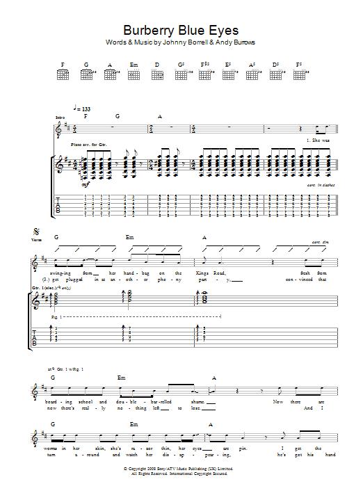Burberry Blue Eyes (Guitar Tab)