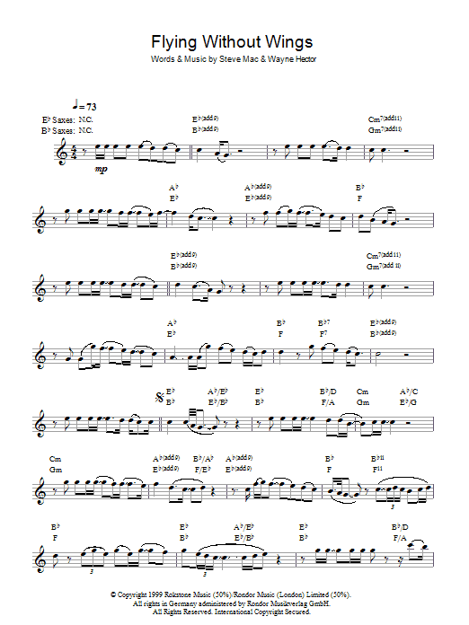 Flying Without Wings Sheet Music