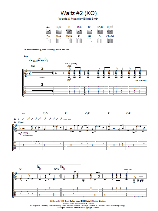 Waltz 2 Xo By Elliott Smith Guitar Tab Guitar Instructor