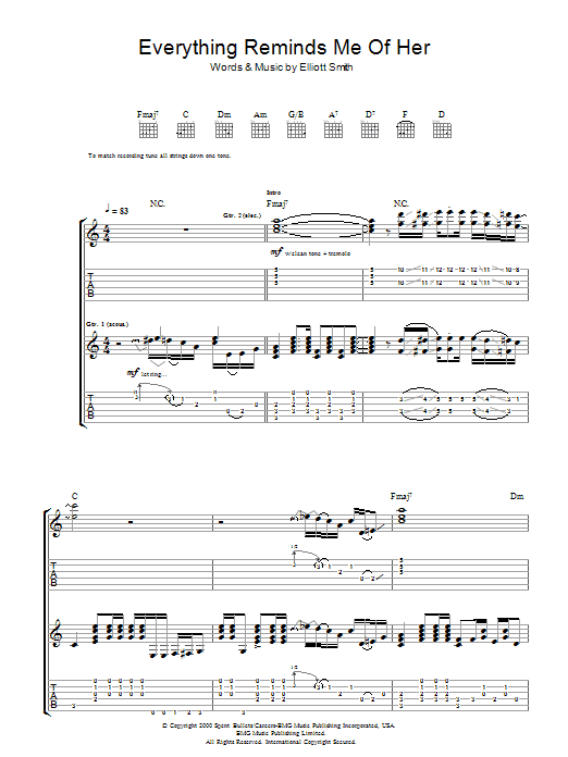 Everything Reminds Me Of Her by Elliott Smith - Guitar Tab - Guitar ...