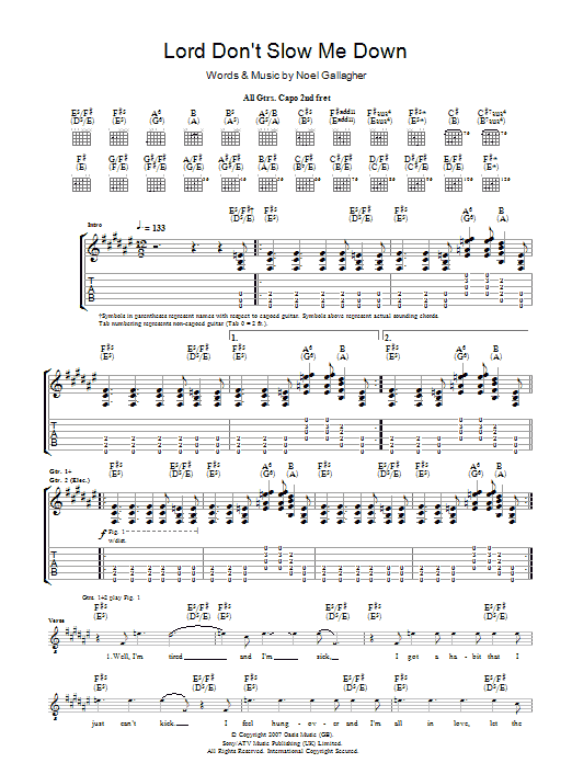 Lord Don't Slow Me Down (Guitar Tab)