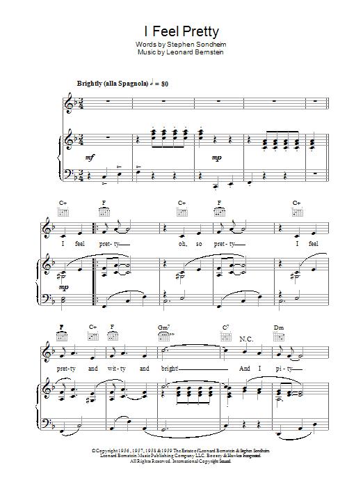 I Feel Pretty (Piano, Vocal & Guitar)