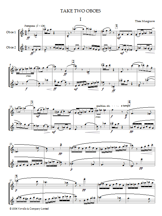 Take Two Oboes (Oboe Duet) (Piano, Vocal & Guitar)
