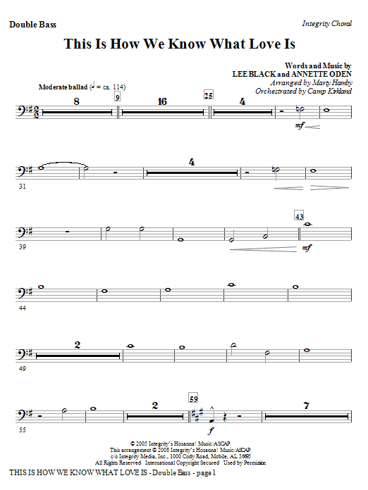 This Is How We Know What Love Is - Bass Clarinet (Dbl Bass sub.) Sheet Music