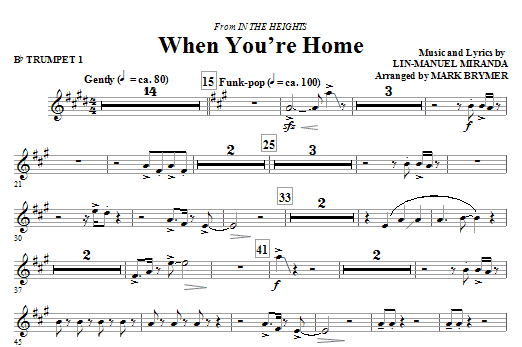 When You're Home (from In The Heights) (complete set of parts) sheet music for orchestra/band (chamber ensemble) by Lin-Manuel Miranda and Mark Brymer. Score Image Preview.