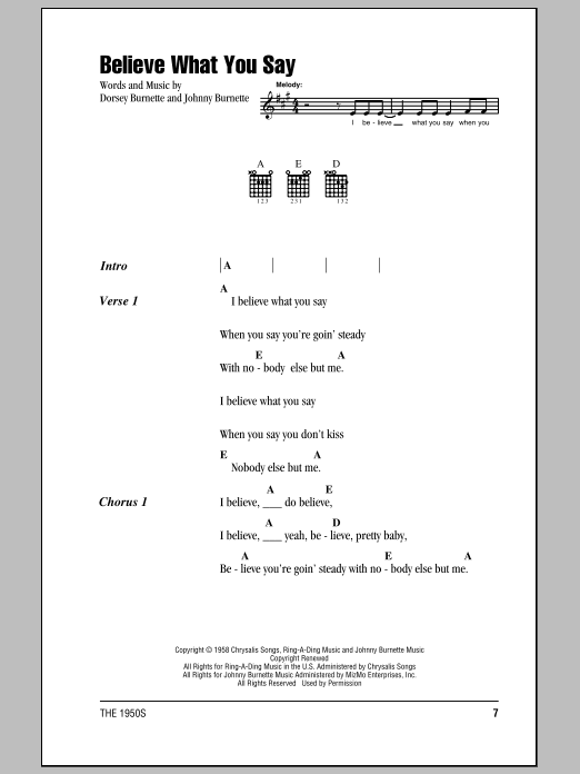 Believe What You Say Sheet Music