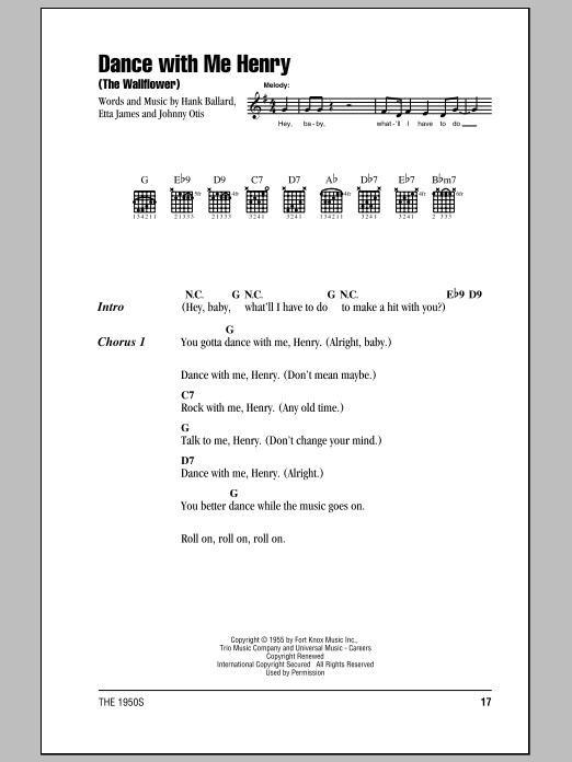 Dance With Me Henry (The Wallflower) Sheet Music