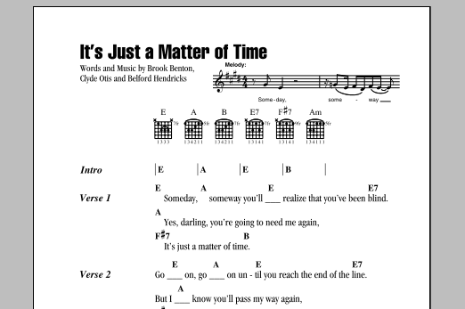 It's Just A Matter Of Time Sheet Music
