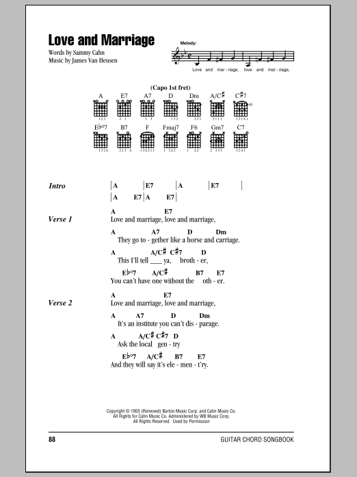 Love And Marriage sheet music by Frank Sinatra (Lyrics & Chords – 84491)