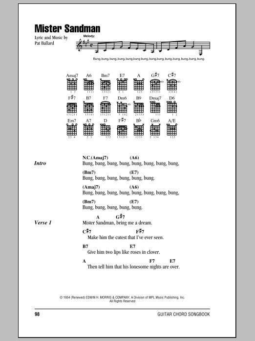 Mister Sandman (Guitar Chords/Lyrics)