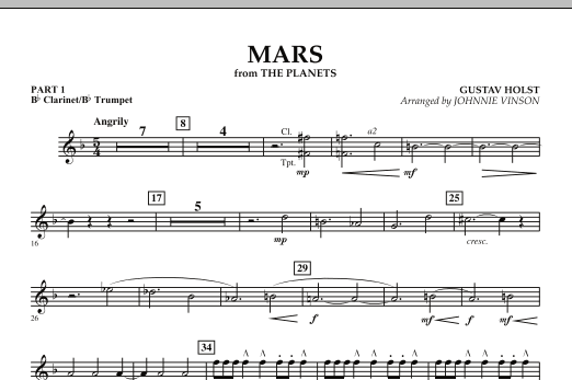 """Mars (from """"The Planets"""") - Pt.1 - Bb Clarinet/Bb Trumpet (Concert Band: Flex-Band)"""