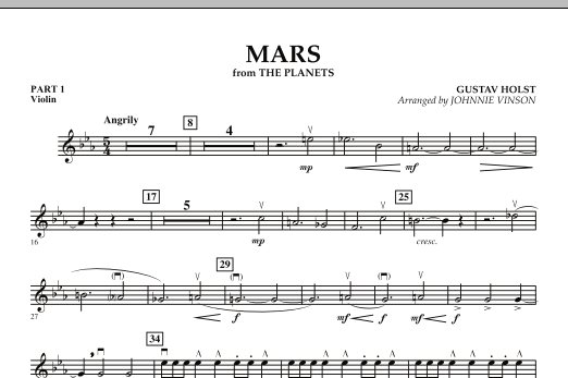 """Mars (from """"The Planets"""") - Pt.1 - Violin (Concert Band: Flex-Band)"""