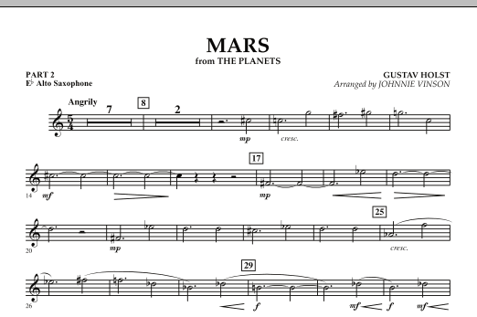 """Mars (from """"The Planets"""") - Pt.2 - Eb Alto Saxophone (Concert Band: Flex-Band)"""