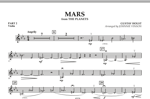"""Mars (from """"The Planets"""") - Pt.2 - Violin (Concert Band: Flex-Band)"""