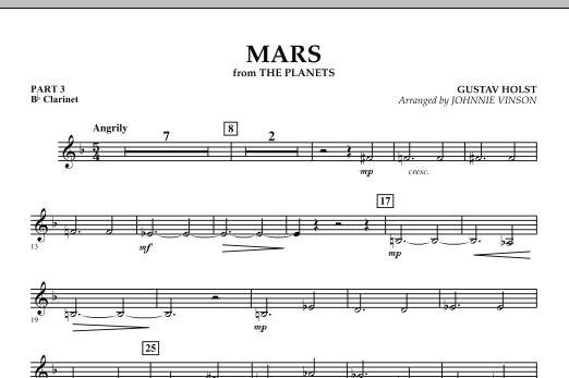 """Mars (from """"The Planets"""") - Pt.3 - Bb Clarinet (Concert Band: Flex-Band)"""