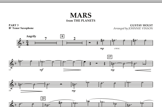 """Mars (from """"The Planets"""") - Pt.3 - Bb Tenor Saxophone (Concert Band: Flex-Band)"""