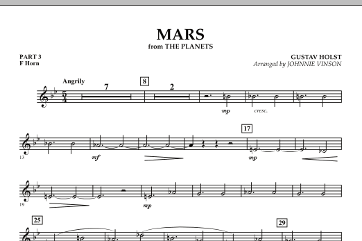 """Mars (from """"The Planets"""") - Pt.3 - F Horn (Concert Band: Flex-Band)"""