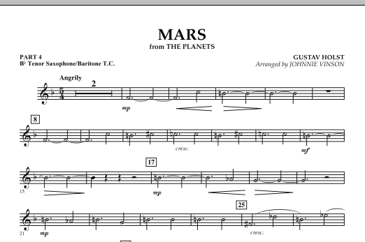 """Mars (from """"The Planets"""") - Pt.4 - Bb Tenor Sax/Bar. T.C. (Concert Band: Flex-Band)"""