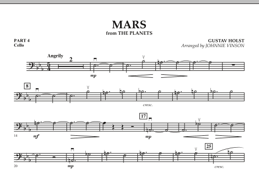 """Mars (from """"The Planets"""") - Pt.4 - Cello (Concert Band: Flex-Band)"""