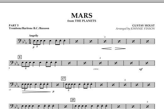 "Mars (from ""The Planets"") - Pt.5 - Trombone/Bar. B.C./Bsn. (Concert Band: Flex-Band)"