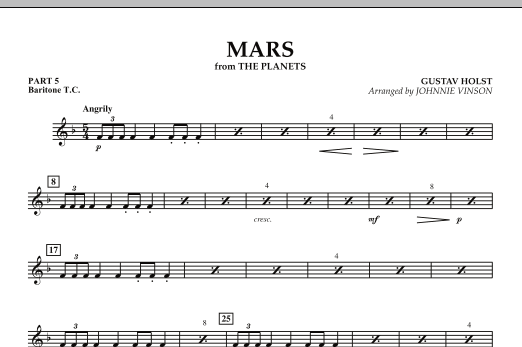 """Mars (from """"The Planets"""") - Pt.5 - Baritone T.C. (Concert Band: Flex-Band)"""