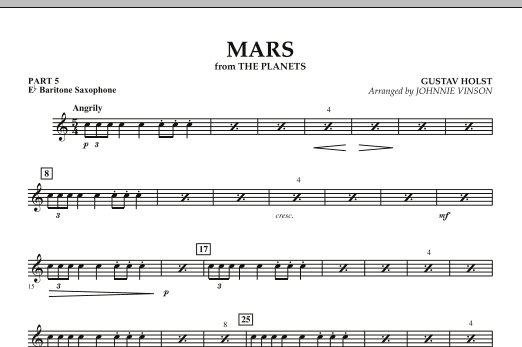 """Mars (from """"The Planets"""") - Pt. 5 - Baritone Saxophone (Concert Band)"""
