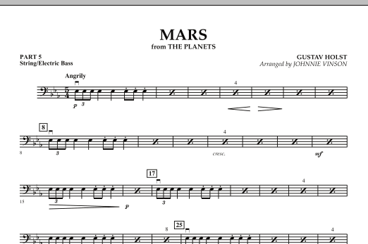 "Mars (from ""The Planets"") - Pt.5 - String/Electric Bass (Concert Band)"