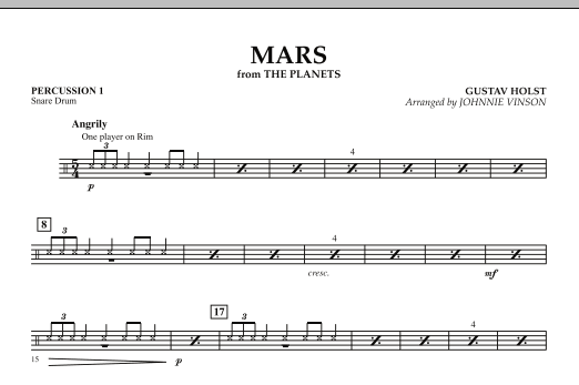 """Mars (from """"The Planets"""") - Percussion 1 (Concert Band)"""