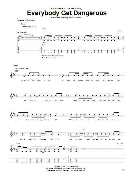 Tablature guitare Everybody Get Dangerous de Weezer - Tablature Guitare