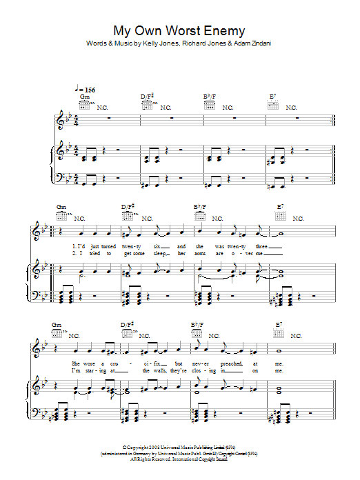 My Own Worst Enemy Sheet Music