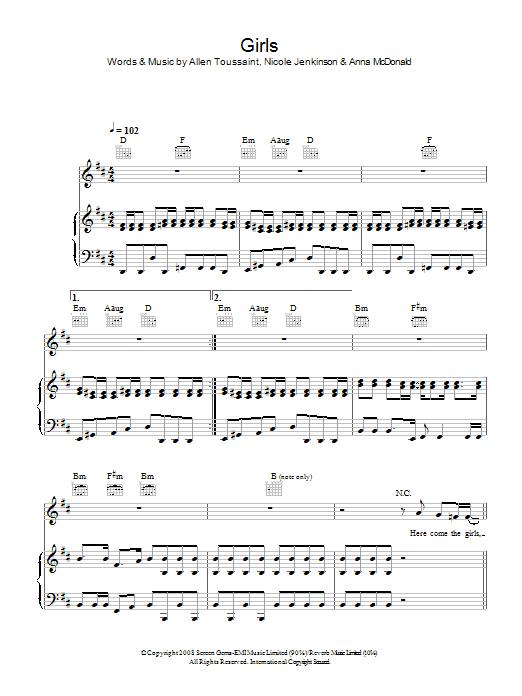 Girls (Piano, Vocal & Guitar)