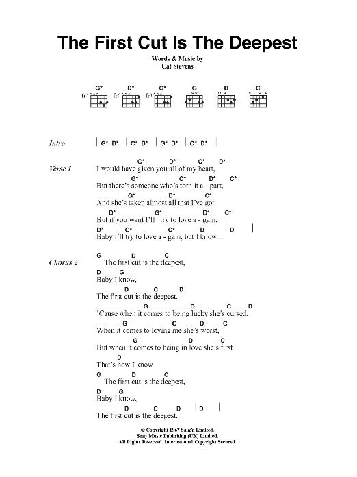 The First Cut Is The Deepest Sheet Music | Cat Stevens | Lyrics & Chords