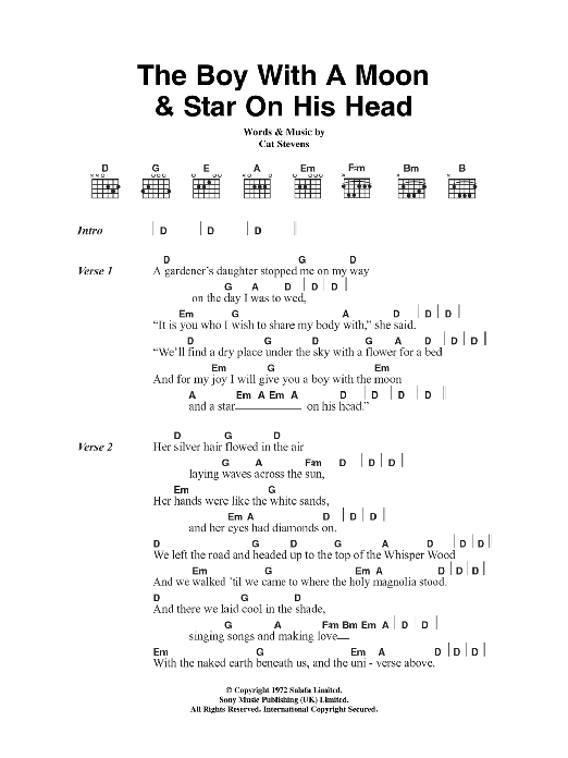 The Boy With The Moon And Star On His Head By Cat Stevens Guitar