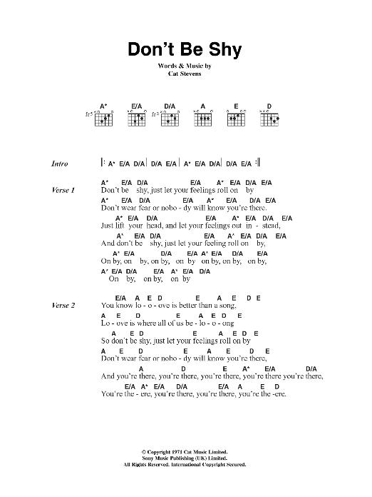 Don\'t Be Shy by Cat Stevens - Guitar Chords/Lyrics - Guitar Instructor
