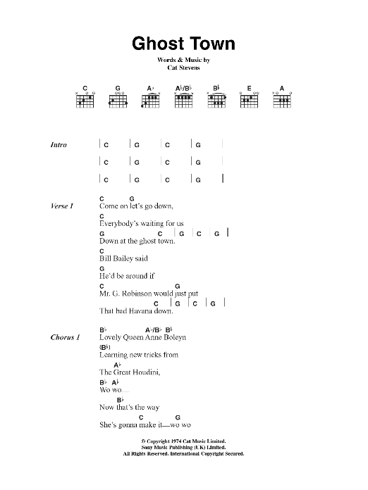 Ghost Town by Cat Stevens - Guitar Chords/Lyrics - Guitar Instructor