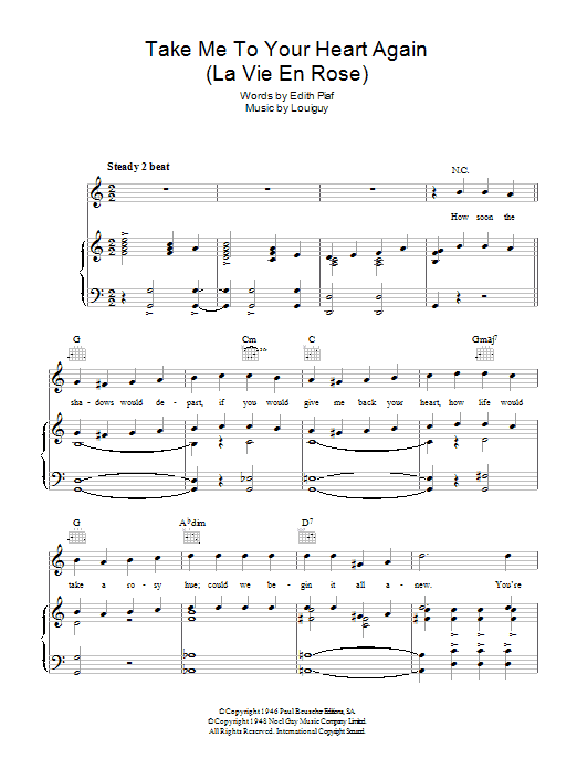 Take Me To Your Heart Again La Vie En Rose Sheet Music Direct
