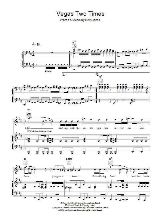 Vegas Two Times (Piano, Vocal & Guitar)