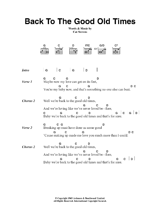Back To The Good Old Times Sheet Music