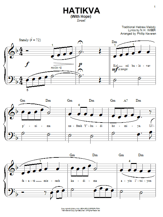 Hatikvah (With Hope) (Big Note Piano)