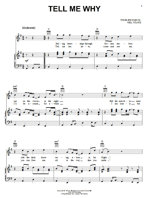 Tell Me Why (Piano, Vocal & Guitar (Right-Hand Melody))