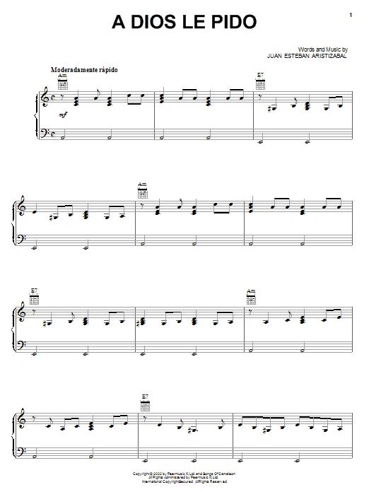 A Dios Le Pido (Piano, Vocal & Guitar (Right-Hand Melody))
