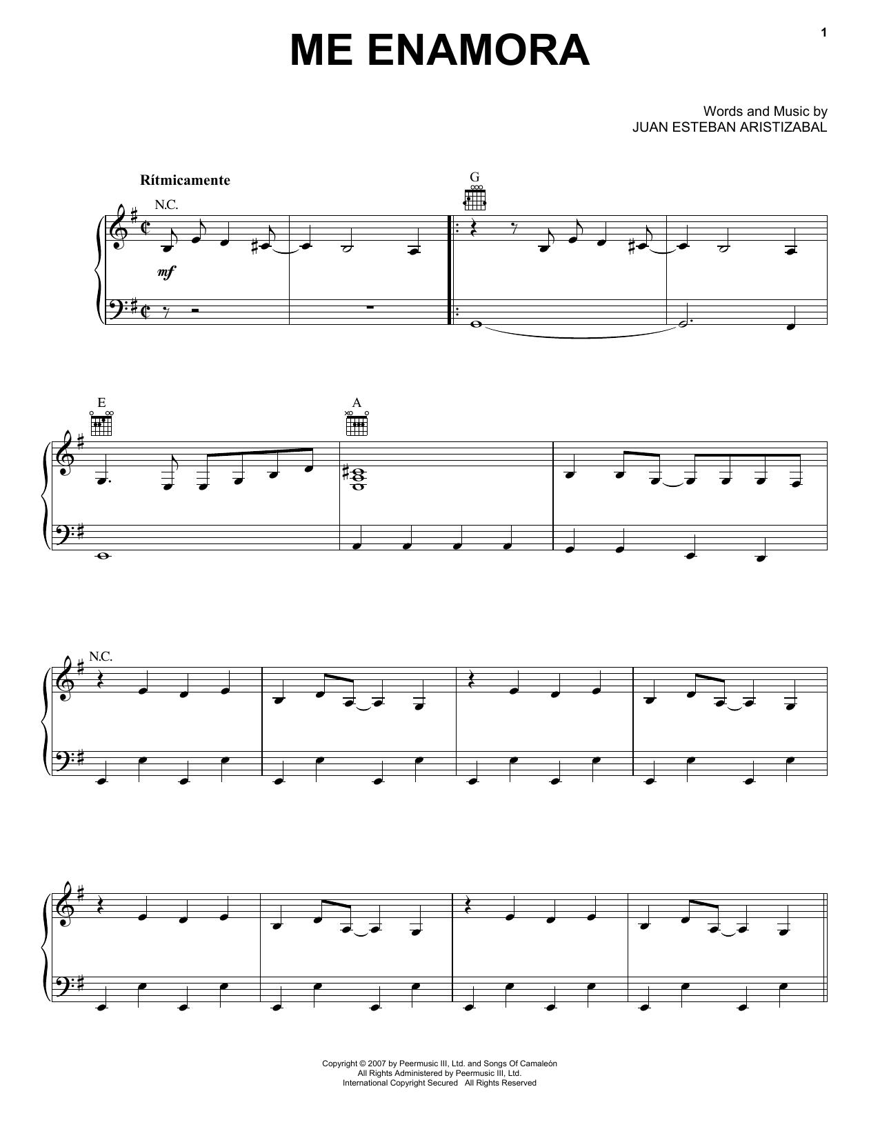 Me Enamora (Piano, Vocal & Guitar (Right-Hand Melody))