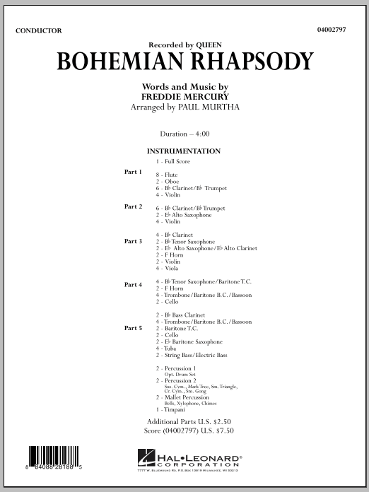 Bohemian Rhapsody (COMPLETE) sheet music for concert band by Paul Murtha, Freddie Mercury and Queen. Score Image Preview.