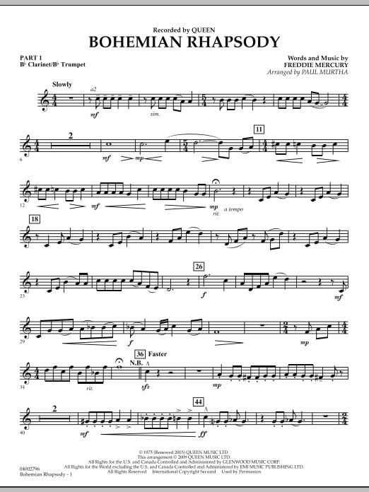 Bohemian Rhapsody - Pt.1 - Bb Clarinet/Bb Trumpet (Concert Band: Flex-Band)