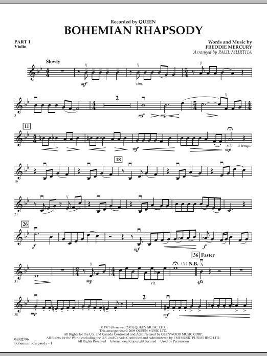 Bohemian Rhapsody - Pt.1 - Violin (Concert Band)