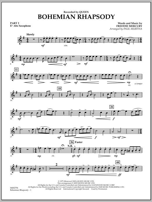 Bohemian Rhapsody - Pt.2 - Eb Alto Saxophone (Concert Band)