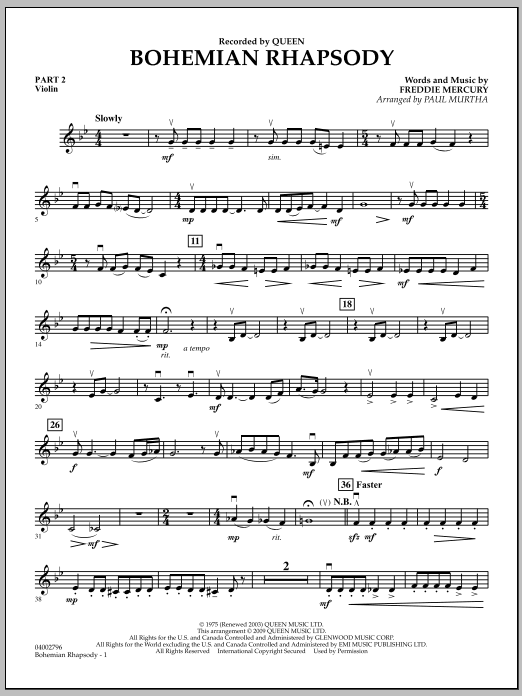 Bohemian Rhapsody - Pt.2 - Violin (Concert Band)